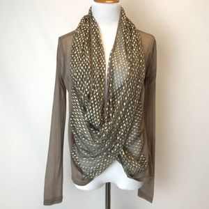 A'reve | sheer infinity scarf cardigan blouse S
